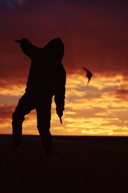 Kite, Sunset, Evening Sky, Abendstimmung, Lighting