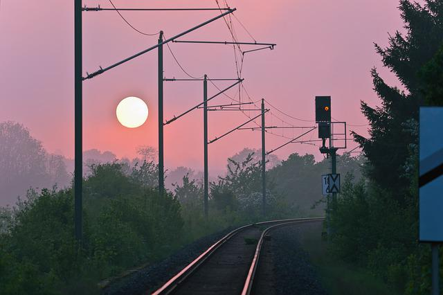 Sunset, Seemed, Abendstimmung, Railway, Railroad Track