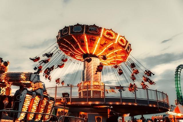 Rides, Amusement Park, Sky, Clouds, Sunset, Dusk