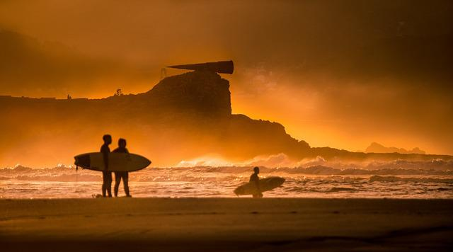 Surf, Beach, Sand, Sports, Sport, Waves, Fire, Sunset