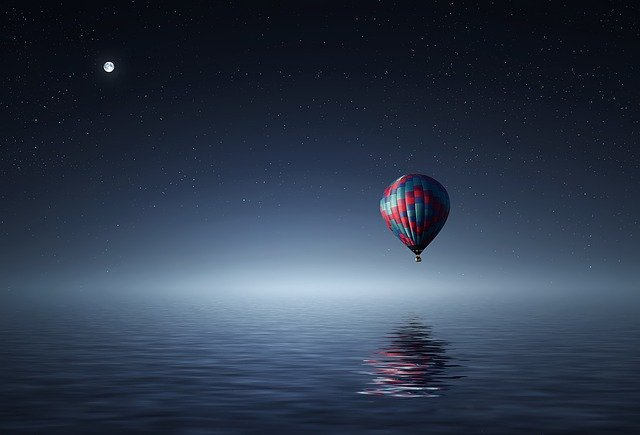 Hot Air Balloon, Lake, Balloon, Sunset, Blue, Yellow