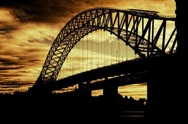Bridge, Sunset, Silhouette, Dusk, Evening, Dark