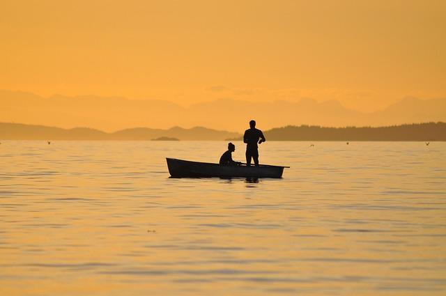 Fishing, Sunset, British Columbia, Catching Fish