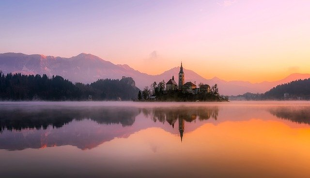 Church, Lake, Sunset, Panorama, Bled, Mirroring