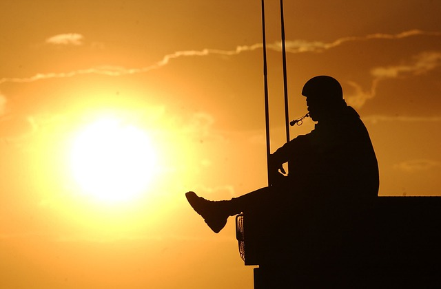 Sunset, Man, Navy, Sky, Clouds, Silhouette, Bright, Sun
