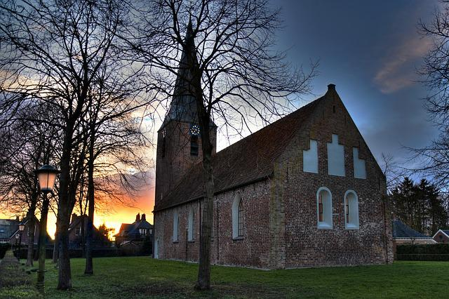 Church, Sunset, Warm, Colorful, Christianity, Religious