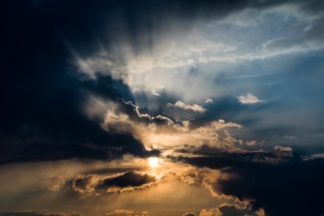 Sun, Sunset, Sunbeam, Dark Clouds, Contrail