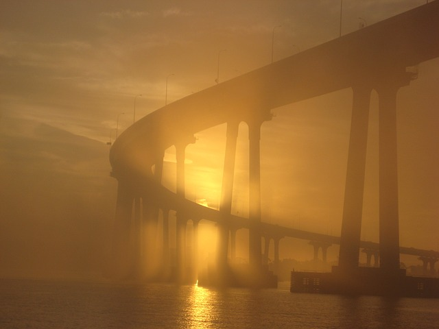 Coronado Bridge, Sunset, Fog, Coronado, Bridge