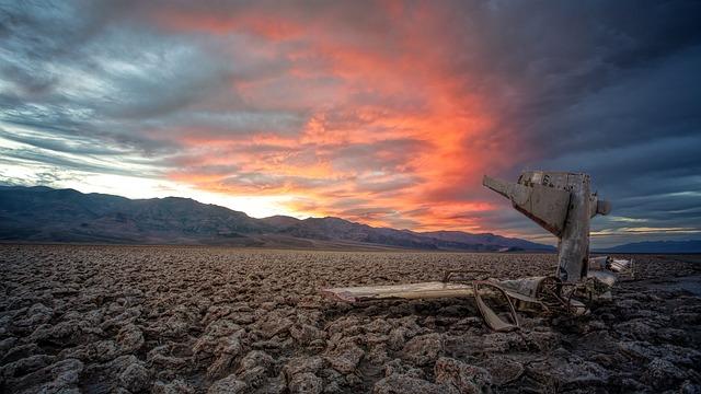 Death Valley, Sunset, Aircraft, Crash, Landscape
