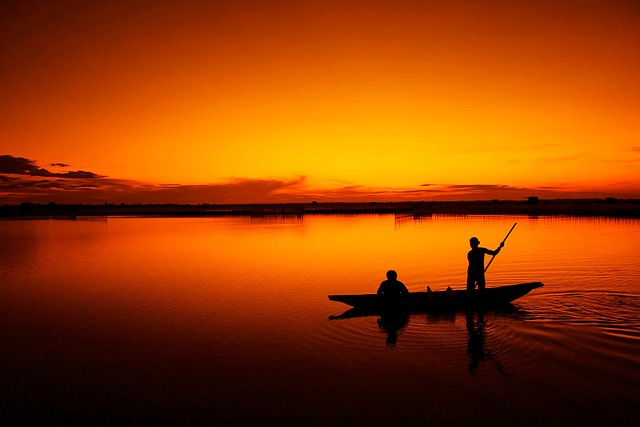 Boat, Dusk, Silhouette, Dawn, Sunrise, Sunset, Lake
