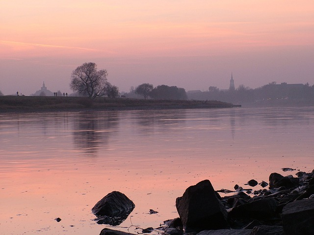 Dresden, Elbe, Sunset