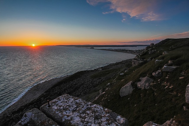 Portland, Sunset, Ocean, England
