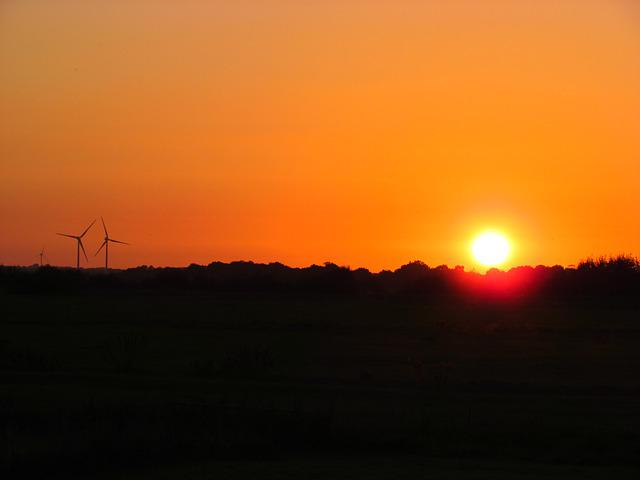 Sunset, Evening, Windmill, Mecklenburg, Afterglow, Sky