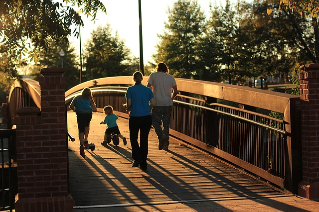 Family, Bridge, Sunset, Tricycle, Parent, Outdoor