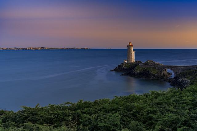 Lighthouse, Coast, Sunset, Brittany, France, Sea