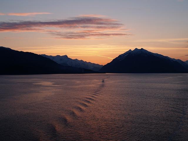 Glacier Bay, Sunset, Alaska, Glacier, National, Park