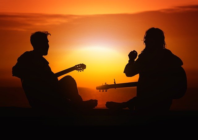 Person, Human, Guitar, Players, Joy, Sunset, Sun