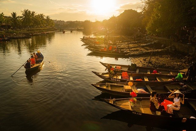 Sunset, The Boat, Wave, Water, Hoi An, Vietnam, Hoian