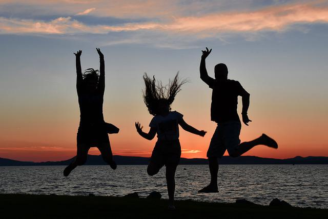 Holiday, Silhouette, Family, Sunset, Hungary
