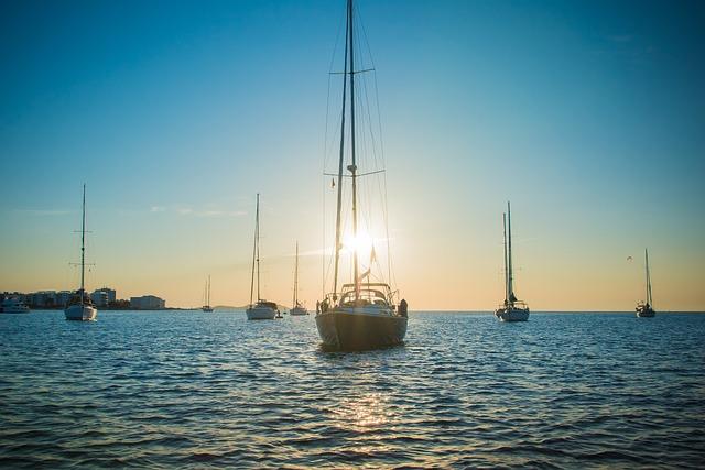 Ibiza, Sunset, Yachts, Sea, Blue