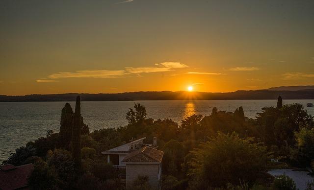 Sunset, Lake Garda, Italy, Landscape, Water, Summer