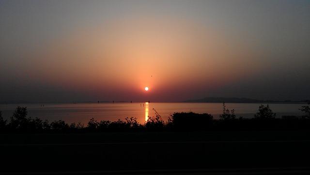At Dusk, Sunset, Lake