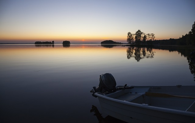 Afterglow, Lake, Sunset, Island, Boat, Outboard Motor