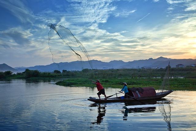 Fish, Fishermen, Ship, Net, Lake, The Water, Sunset