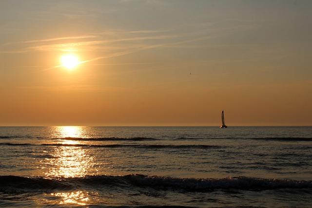Sunset, Langeoog, Sea, East Frisia, Coast, Beach