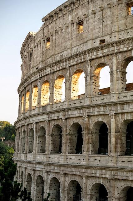 Colosseum, Rome, Sunset, Light, Shadows, Ancient, Stone