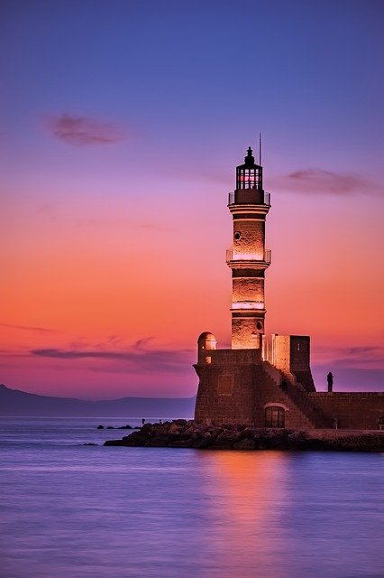 Greece, Lighthouse, Sea, Ocean, Sunrise, Sunset