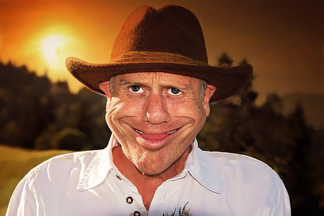 Caricature, Man, Human, Male, Face, Hat, Sunset