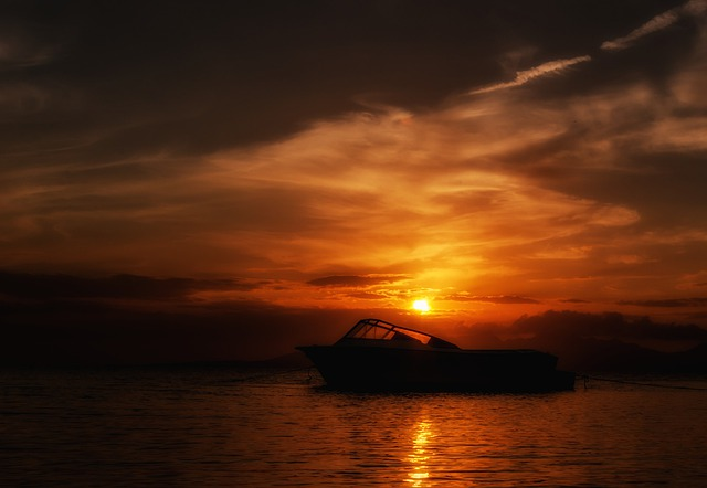 Margarita Island, Sunset, Boat, Silhouette, Sky, Clouds