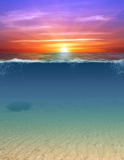 Mixed Media, Underwater, Sunset, Waves, Sea, Beach, Sun