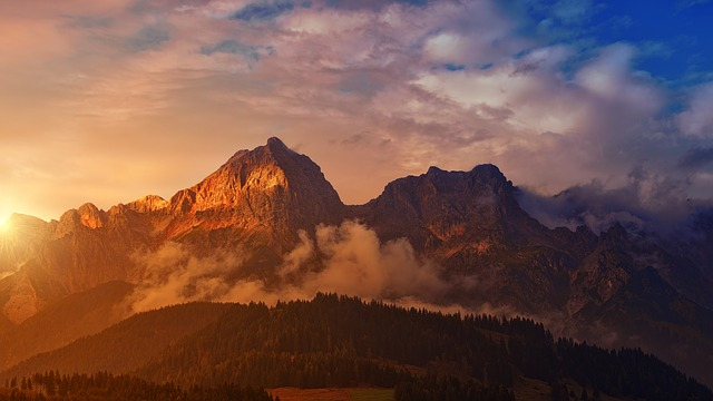 Mountain, Sunset, Panorama, Dawn, Landscape, Alpine