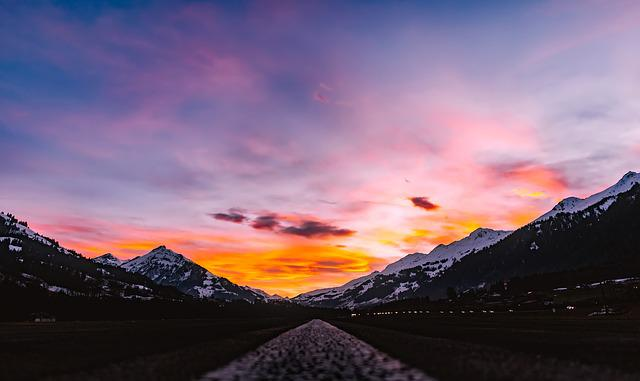 Switzerland, Sunset, Dusk, Sky, Clouds, Mountains, Road