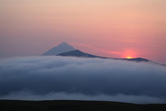 Volcano, Sunset, Evening, Mountains, Kamchatka