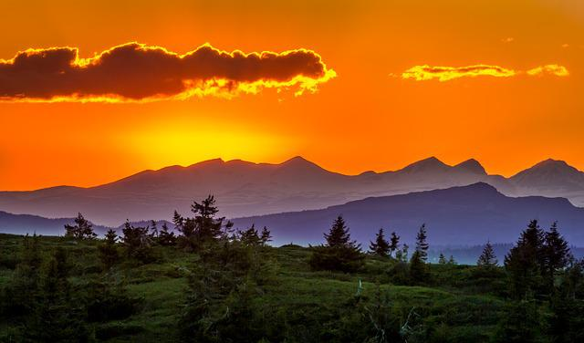 Sunset, Trees, Landscape, Mountains, Nature, Sun