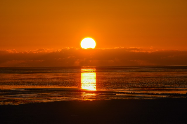 Sunset, Wadden Sea, Nordfriesland, Afterglow, Dusk
