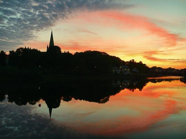 Norway, Trondheim, Nidarosdomen, Sunset