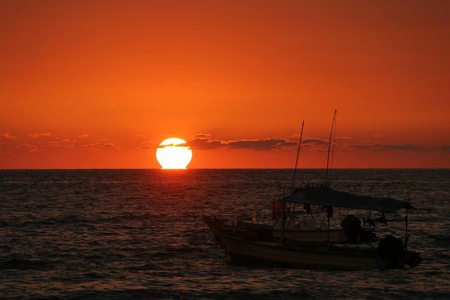 Sunset Mexico, Sunset, Fishing Boat, Sunset Ocean
