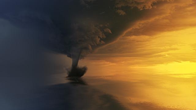 Tornado, Wind Shear, Ocean, Clouds, Storm, Sunset, Dawn