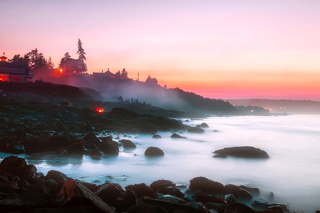 Ogunquit, Maine, Landscape, Sunset, Dusk, Sea, Ocean