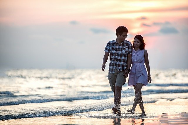 Romance, Pair, Sunset, Together, Beach, Holding