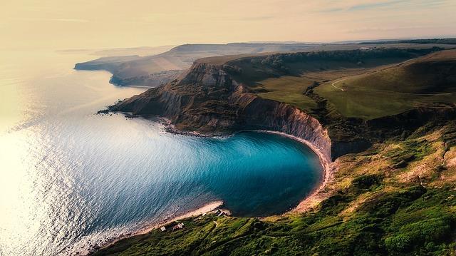 Sea, Ocean, Aerial View, Sunset, Dusk, Panorama, Cliff