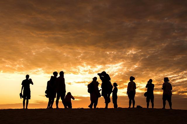Sunset, Dawn, Silhouette, People, Sun, Sky, Landscape