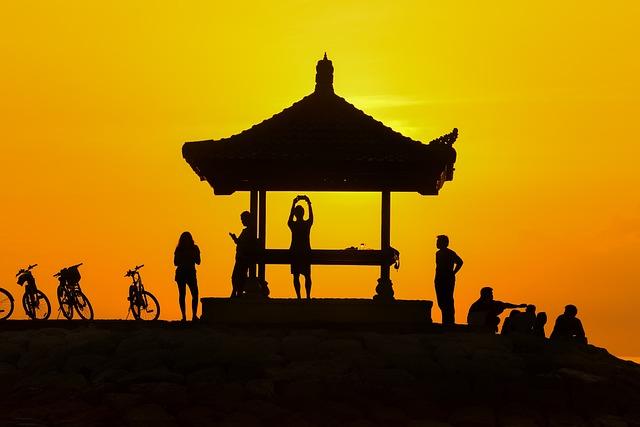 Sunset, People, Silhouette, Turret