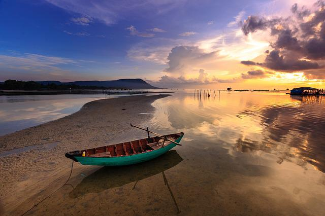 Sunset, Boat, Fishing Boat, Colorful, Phu Quoc, Sea