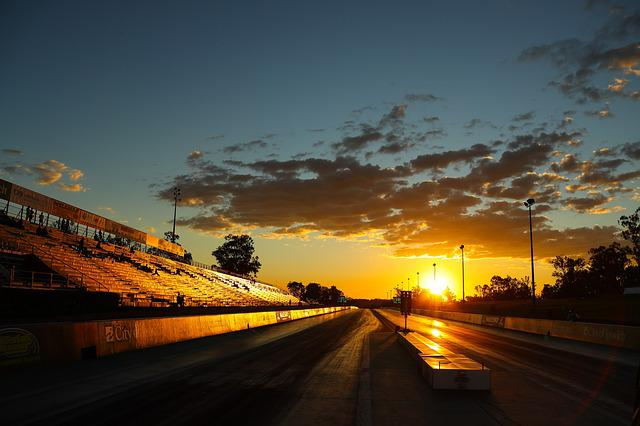 Sunset, Raceway, Racetrack, Racing, Sports, Cloud
