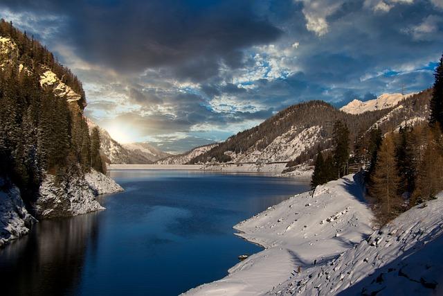Mountains, Alpine, Reservoir, Switzerland, Sunset